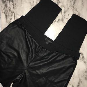 Metaphor black faux leather & knit leggings XL